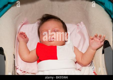 Moro reflex. Baby asleep - Stock Photo