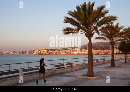 Waterfront Avinguda Gabriel Roca at Palma at sunrise, Mallorca, Balearic Islands, Mediterranean Sea, Spain, Europe - Stock Photo