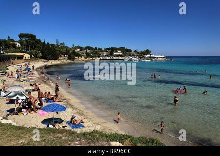 Beach of Fontane Bianche, Syracuse, Sicily, Italy - Stock Photo