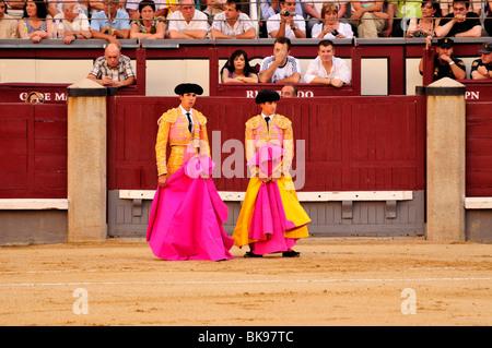 Bullfighters holding their capes, capote, in Las Ventas Bullring, Madrid, Spain, Iberian Peninsula, Europe - Stock Photo