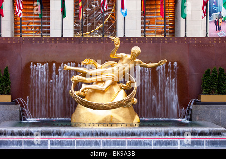 The Prometheus Statue (1934) by Paul Manship at Rockefeller Plaza, New York City USA - Stock Photo