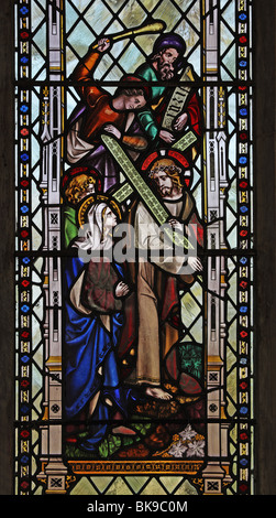A stained glass window depicting a Scene from the Passion of Christ, St Mary's Church, Moulton St Mary, Norfolk - Stock Photo