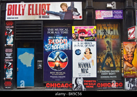 Adverts for London West end shows, on ticket booking office, Monmouth Street, Covent Garden - Stock Photo