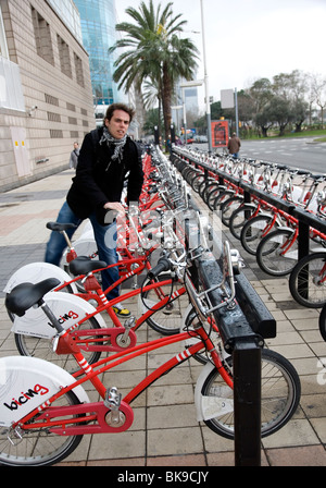 Bicing - community Bicycle programin Barcelona - Stock Photo