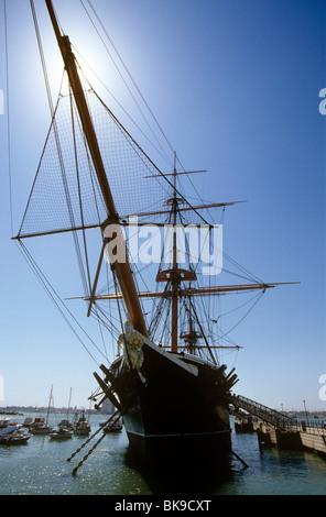 UK, England, Hampshire, Portsmouth, historic dockyard, HMS Warrior - Stock Photo
