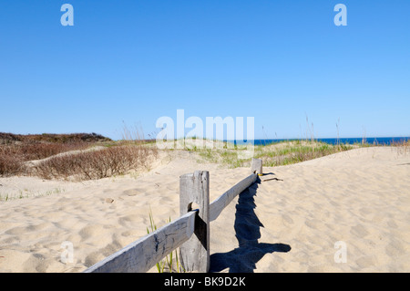 Footpath with fence at Coast Guard Beach, Cape Cod National Seashore Eastham Cape Cod Massachusetts USA - Stock Photo
