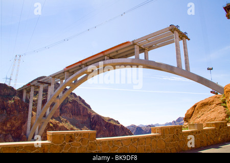 New Colorado River Bridge span across canyon below Hoover Boulder Dam desert Nevada Arizona Lake Mead highway construction - Stock Photo