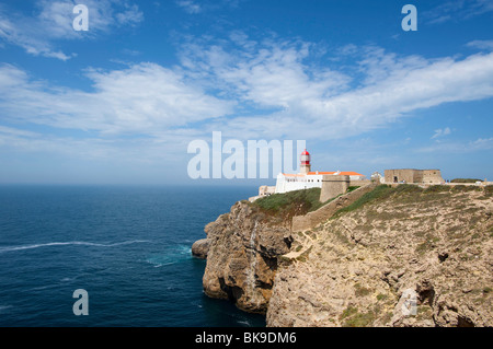 Lighthouse at Cabo de Sao Vicente, Algarve, Portugal, Europe - Stock Photo