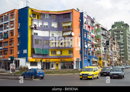 Many buildings in Albania's capital Tirana are painted, by a mayor.'s caprice, in patterns of vivid colour - Stock Photo