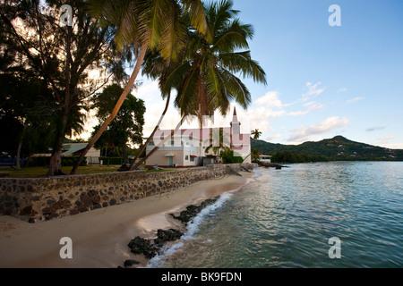 RC Church on Anse Royal Beach, Mahe Island, Seychelles, Indian Ocean, Africa - Stock Photo