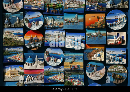 Souvenir fridge magnets in Plaka quarter in Athens, Greece. - Stock Photo