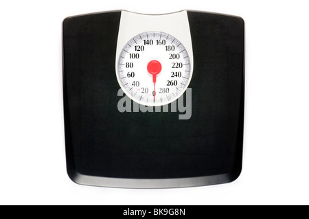 weight scale alone on white surface - Stock Photo
