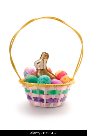 easter basket on white - Stock Photo