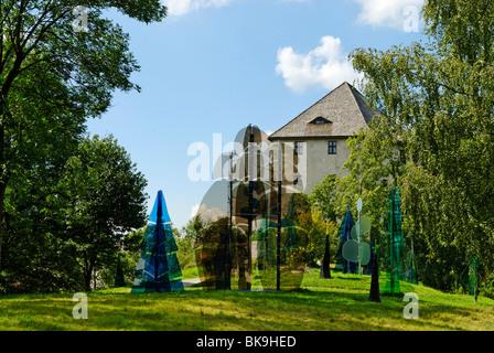 Glass forest in front of the Weissenstein ruins near Regen, Bavarian Forest, Lower Bavaria, Bavaria, Germany, Europe - Stock Photo