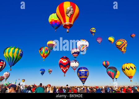 Rising Balloons- Hot Air Balloon Fiesta Albuquerque New Mexico - Stock Photo
