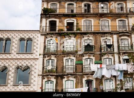 Casa dos Bicos and adjacent apartment building, Rua da Alfândega,  Lisbon, Portugal - Stock Photo