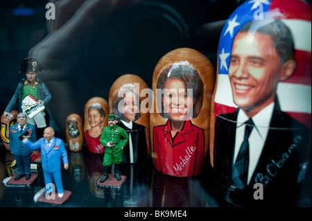 Paris, France, Decorated Easter Eggs on Display in French Antiques Shop WIndow, President Obama Photo - Stock Photo