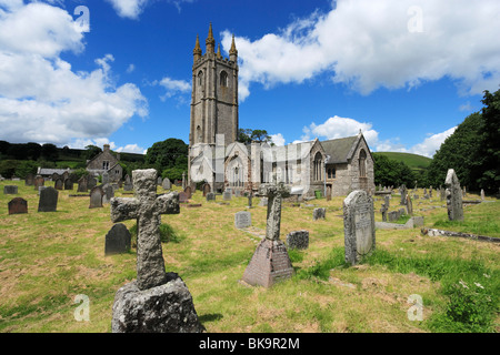 The church of St Pancras, Widecombe-in-the-Moor, Dartmoor National Park, Devon, England, United Kingdom - Stock Photo