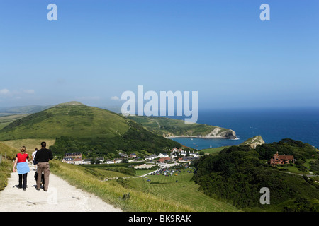 High angle view of the Lulworth Cove, Dorset, England, United Kingdom - Stock Photo