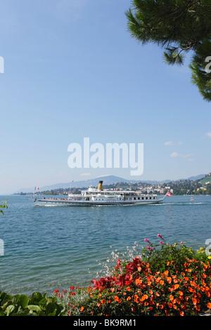 Pleasure boat on lake Geneva, Montreux, Canton of Vaud, Switzerland - Stock Photo