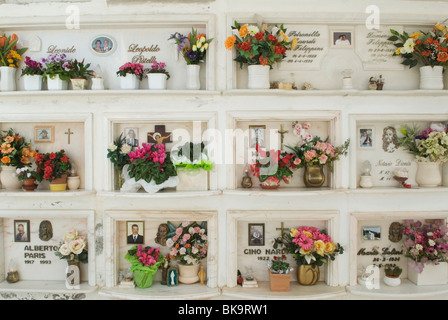Capalbio Tuscany Italy. Flowers at a family grave. HOMER SYKES - Stock Photo