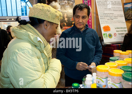 Small Business People Visiting Organic Food Products Trade Show, Paris, France, organic shopping - Stock Photo