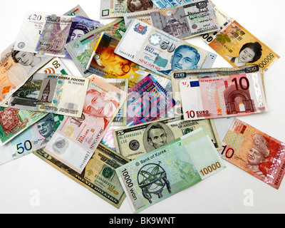 Mixed Currency Banknotes - Stock Photo