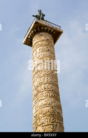 Italy, Rome, Piazza Colonna, Low angle view of the Column of Marcus Aurelius - Stock Photo