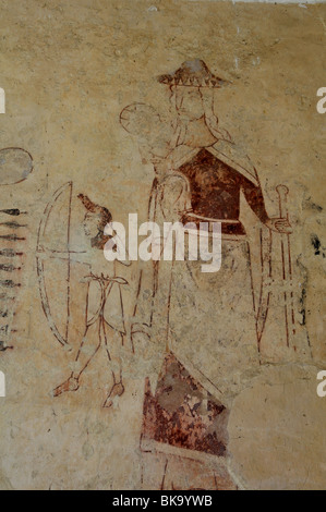 Wall paintings in St. Andrew`s Church, Stoke Dry, Rutland, England, UK - Stock Photo