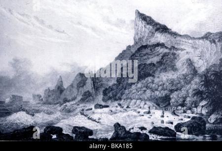 transport / transportation, navigation, Mutiny on the Bounty 1789, Pitcairn Island, the last hideaway of the mutineers, - Stock Photo