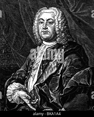 Gottsched, Johann Christoph, 2.2.1700 - 12.12.1766, German author / writer, poet, scholar, half length, print after - Stock Photo