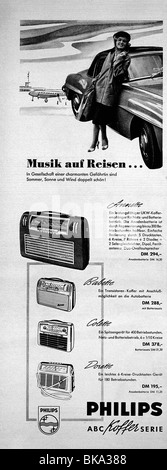 advertising, broadcast, radio, portable radio set Philips, 1957, - Stock Photo
