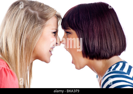two teenage girls shouting at each other - Stock Photo