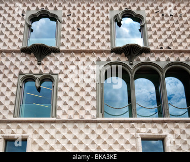 Detail of the historic Portuguese Casa dos Bicos ('House of Spikes') c.1523, Lisbon, Portugal. - Stock Photo