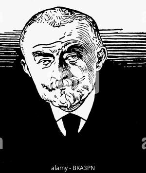 Huysmans, Joris Karl, 5.2.1848 - 12.5.1907, French author / writer of Flemish origin, portrait, ink drawing by Felix - Stock Photo