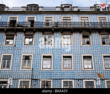 Detail of azulejos tiled building in Campo das Cebolas, Lisbon, Portugal. - Stock Photo