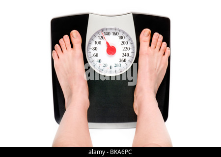 feet standing on weight scale - Stock Photo