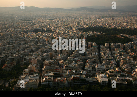 View to Athens from Mount Lycabettus in Greece. - Stock Photo