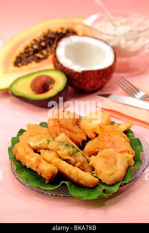 Tropical tempura. Recipe available. - Stock Photo
