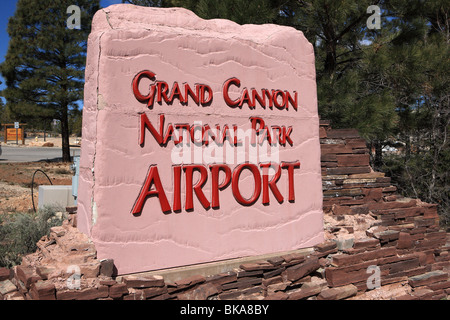 Grand Canyon National Park Airport sign at the entrance to the Airport - Stock Photo