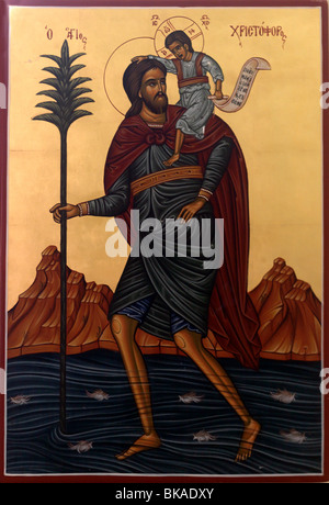 Arachova Attica Greece Icon Of Saint Christopher Martyr Of Lycea Carrying The Christ Child In Church - Stock Photo