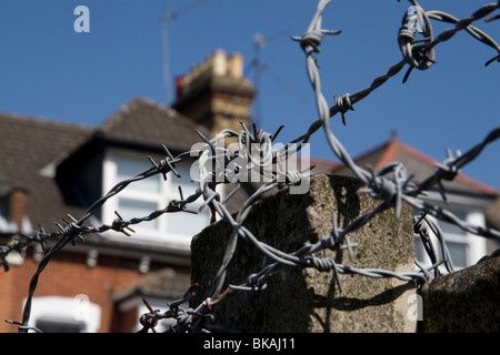 Barbed wire on a garden fence, Crouch End, London - Stock Photo