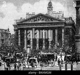 geography / travel, Great Britain, London, Royal Exchange, built 1842 - 1844, architect: Sir William Tite, exterior - Stock Photo