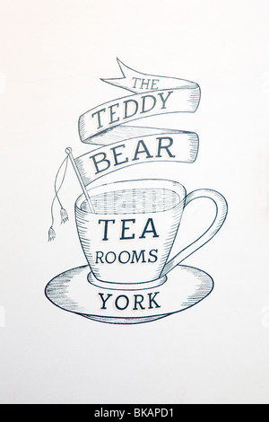 Teddy Bear Tea Rooms Sign in Stonegate York Yorkshire UK - Stock Photo