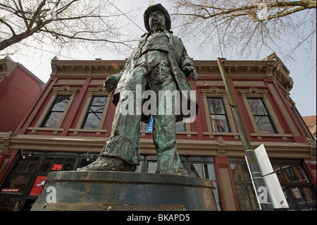 Gassy Jack statue Water Street in Gastown Vancouver British Columbia Canada - Stock Photo