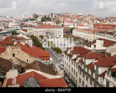 View of Rossio Square (Pedro IV Square), and the National Theatre, from the upper level of the Elevador de Santa - Stock Photo