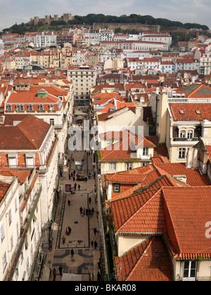 View down Rua Santa Justa from the upper level of the Elevador de Santa Justa, Lisbon Portugal - Stock Photo