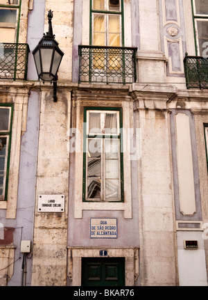 Detail of buildings in Rua São Pedro de Alcântara,Bairro Alto district of Lisbon, Portugal - Stock Photo