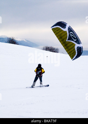 Skier para skis / skiing / ski in the French Alpine resort of Plateau De Sur Lyand. Ain department of France. - Stock Photo