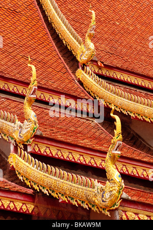 Roof detail at Wat Chetawan Buddhist temple in Chiang Mai, Thailand. - Stock Photo